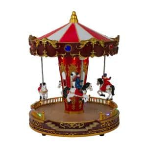 8 in. LED Lighted and Animated Christmas Carousel with Horses