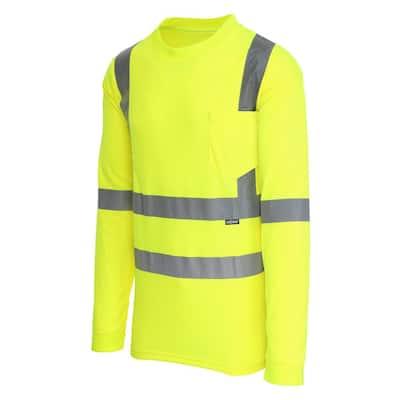 Unisex 2X-Large Hi-Visibility Yellow ANSI Class 3 Long Sleeve Shirt