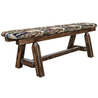 Homestead Collection 18 in. H Brown Wooden Bench w/ Woodland Pattern Upholstered Seat, 5 ft. Length
