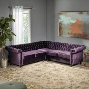 Amberside 3-Piece Blackberry Velvet 4-Seat L Shaped Reversible Sectionals with Armrests