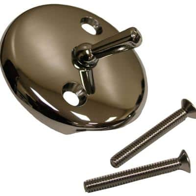 2-Hole Bathtub Waste and Overflow Faceplate with Trip Lever and 2 in. Screws in Chrome