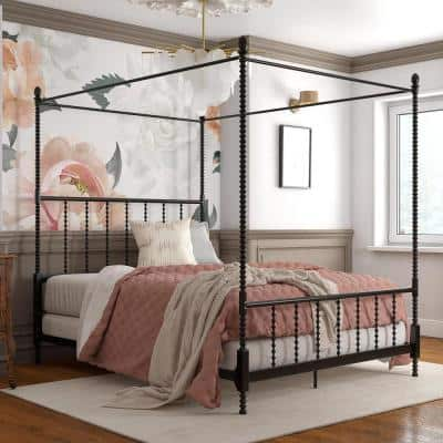 Emerson Black Metal Canopy Queen Size Frame Bed