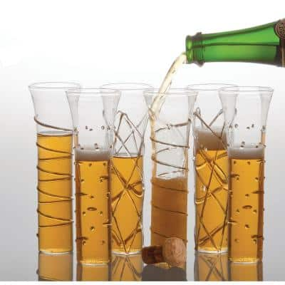 Razzle Dazzle Gold Champagne Glasses (Set of 6)