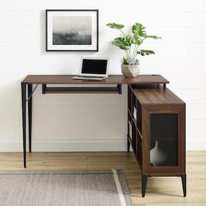 52 in. L-Shaped Dark Walnut Computer Desks with Keyboard Tray