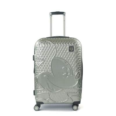 Disney Textured Mickey Mouse 25 in. Silver Hard-Sided Rolling Luggage
