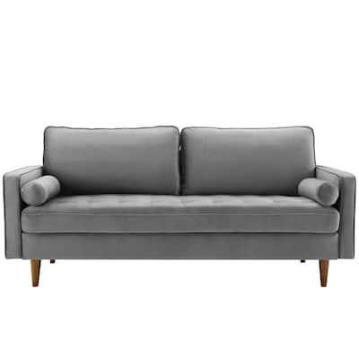 Valour 73 in. Gray Velvet 3-Seater Tuxedo Sofa with Square Arms