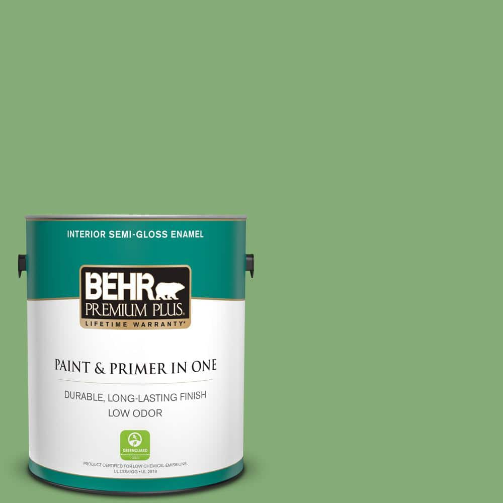 Behr Premium Plus 1 Gal 440d 5 Pesto Semi Gloss Enamel Low Odor Interior Paint And Primer In One 330001 The Home Depot