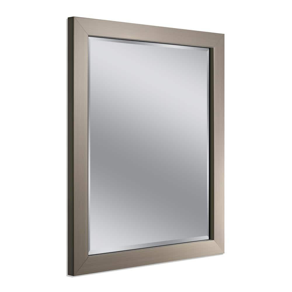 Deco Mirror Modern 26 In W X 32 In H Framed Rectangular Beveled Edge Bathroom Vanity Mirror In Brush Nickel 8882 The Home Depot