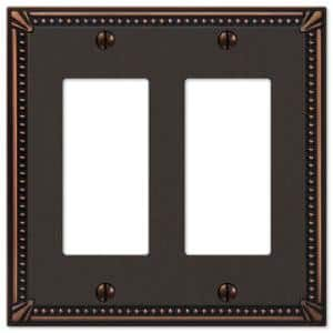 Imperial Bead 2 Gang Rocker Metal Wall Plate - Aged Bronze