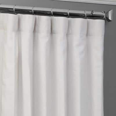Crisp White Linen Rod Pocket Room Darkening Curtain - 50 in. W x 96 in. L