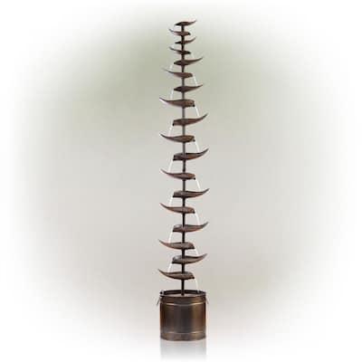 70 in. Tall Indoor/Outdoor Metal Tiered Floor Water Fountain