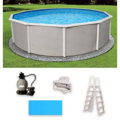 Belize 24 ft. Round x 48 in. Deep Metal Wall Above Ground Pool Package with 6 in. Top Rail