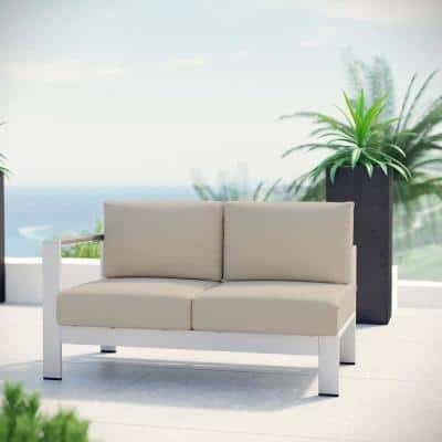 Shore Patio Aluminum Left Arm Outdoor Sectional Chair Loveseat in Silver with Beige Cushions