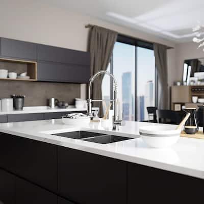 Undermount Stainless Steel 31 in. Double Bowl Kitchen Sink Kit
