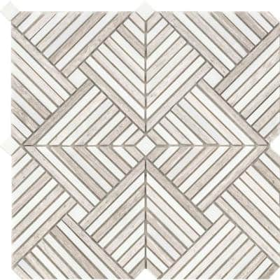 Alluro Cream 12.01 in. x 12.01 in. Basketweave Polished Marble Mosaic Tile ( 1.001 sq. ft./Each)