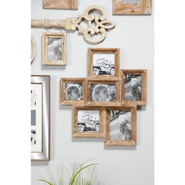 Litton Lane Wooden Collage Picture Frames Wall Decor With 6 Rectangular 20473 The Home Depot