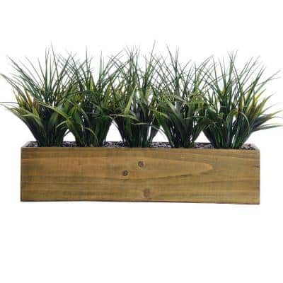 24 in. x 9 in. x 12 in. Tall Plastic Grass in Wooden Pot