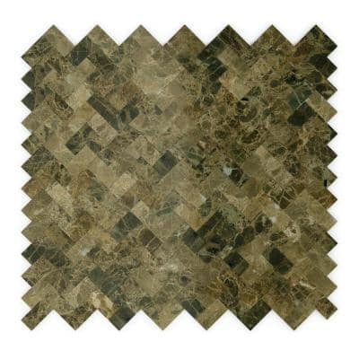 Take Home Sample - Moka Brown 4 in. x 4 in. Stone Self-Adhesive Wall Mosaic Tile (0.11 sq. ft./Each)