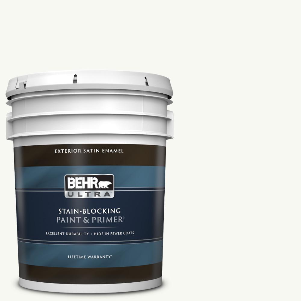 5 gal. #PPU18-06 Ultra Pure White Satin Enamel Exterior Paint & Primer