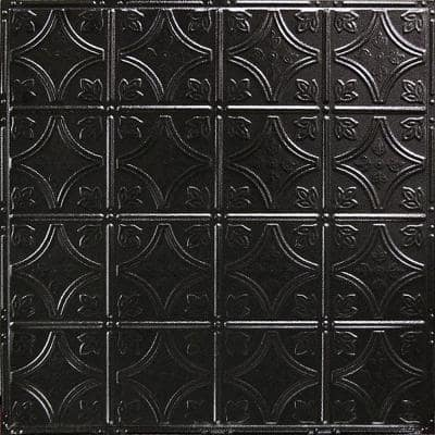 Pattern #3 in Textured Black Satin 2 ft. x 2 ft. Nail Up Tin Ceiling Tile (20 sq. ft./Case)
