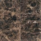 Natural Stone Collection Emperador Dark 12 in. x 12 in. Polished Marble Floor and Wall Tile (10 sq. ft. / case)
