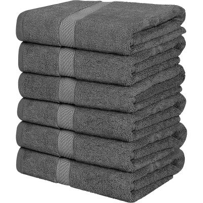 Highly Absorbent Gray 100% Cotton Bath Towel (Set of 6)