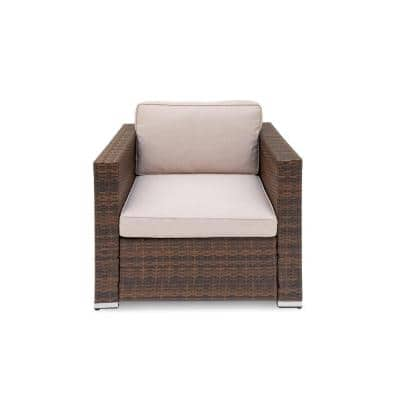 Brantford 1-Piece Brown Wicker Steel Frame Outdoor Single Sectional Chair with Beige Cushions