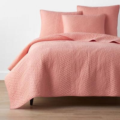 Company Cotton Coral Solid Twin Quilt