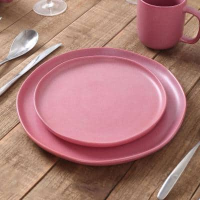 Pink and White Tom Rustic Stoneware Dinnerware (Set for 4)