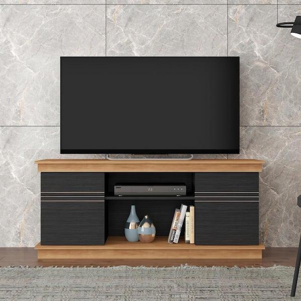 Bertolini Alec 53 54 In Buriti Black Tv Stand Fits Tvs Up To 60 In F 90003 355 The Home Depot