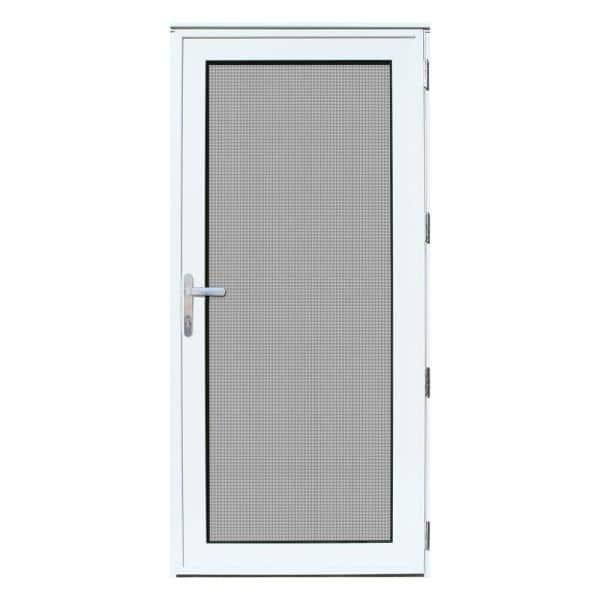 Unique Home Designs 36 In X 80 In White Recessed Mount Left Hand Meshtec Security Door With Tempered Glass Insert 5v0000en1whgla The Home Depot