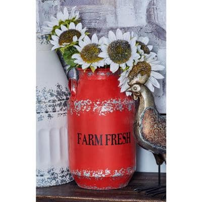 Red Iron Milk Cans with Handles (Set of 2)