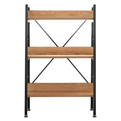 Allday 37 in. Beige Wooden 3-Shelf Standard Bookcase with Metal Frame