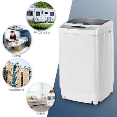 19 in. W 1.34 cu. ft. Smart Portable Top Load Washing Machine Spin Compact Washer in Grey