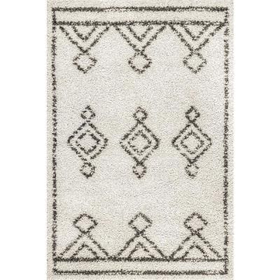 Mira Moroccan Diamond Shag Off White 2 ft. x 3 ft. Area Rug