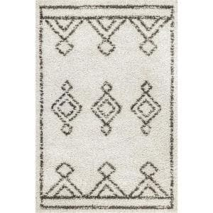 Mira Moroccan Diamond Shag Off White 4 ft. x 6 ft. Area Rug