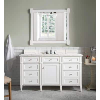 Brittany 60 in. Single Vanity in Bright White with Quartz Vanity Top in Eternal Jasmine Pearl with White Basin