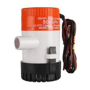 01-Series 0.064 HP Submersible 12-Volt 500 GPH Manual Bilge Pump