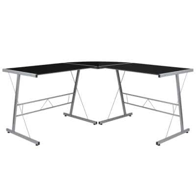 83.5 in. L-Shaped Black/Silver Computer Desks with Glass Top
