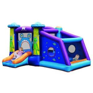 Inflatable Bouncer Alien Bounce House Blue Kids Jump Slide Ball Pit without Blower