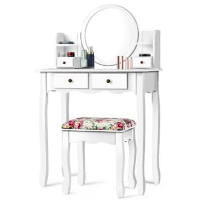 4-Drawer White Vanity Table Set Cushioned Seat Dressing Furniture with Oval Mirror
