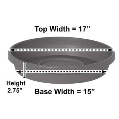 Terra 17 in. Charcoal Plastic Plant Saucer Tray