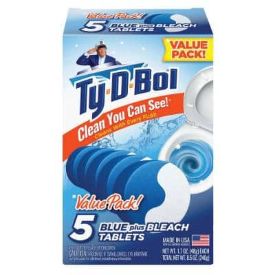 1.7 oz. Blue Bleach Toilet Bowl Cleaning Tablets (5 Tab Pack, Value Pack: 10-Packs of 5 Tablets)
