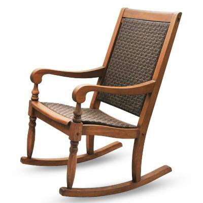 Bonn Oversized Natural Brown Wicker Outdoor Rocking Chair
