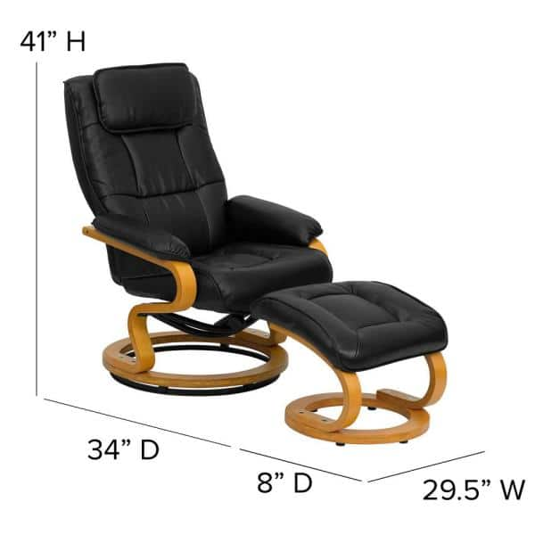 Flash Furniture Contemporary Black, Flash Furniture Reclining Office Chair With Ottoman