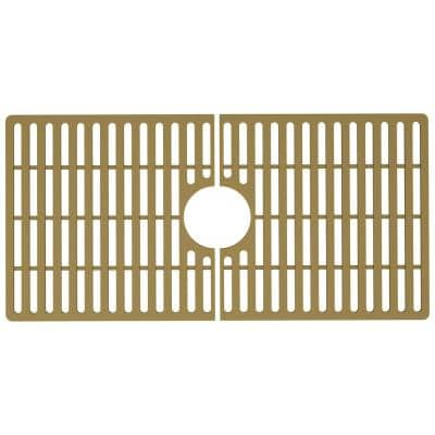 30 in. x 15 in. Silicone Bottom Grid for 33 in. Single Bowl Kitchen Sink in Matte Gold