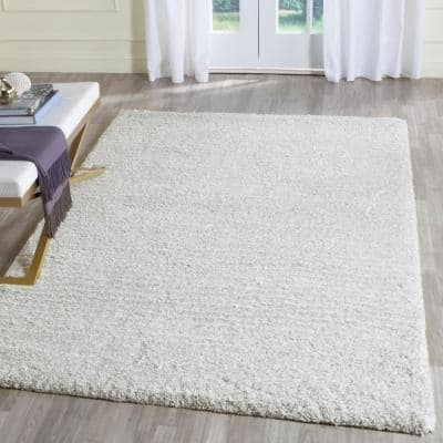 Ultimate Shag Silver/Ivory 5 ft. x 8 ft. Area Rug