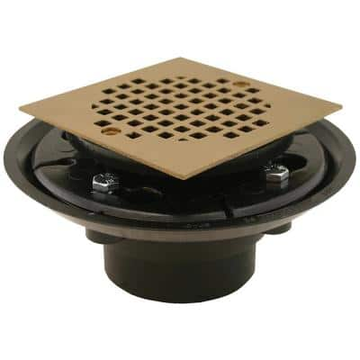 2 in. x 3 in. ABS Shower Drain/Floor Drain w/4 in. Polished Brass Cast Square Strainer-Fits Over 2 in. Sch. 40 DWV Pipe