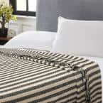 Jay Black and White Full/Queen Cotton Blanket