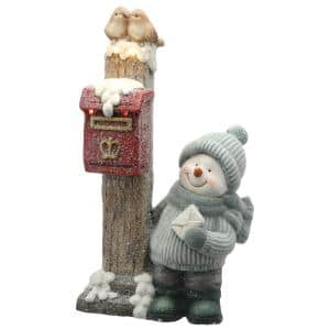 20 in. Magnesia Snowman and Mailbox with Warm White Battery Operated LED Lights